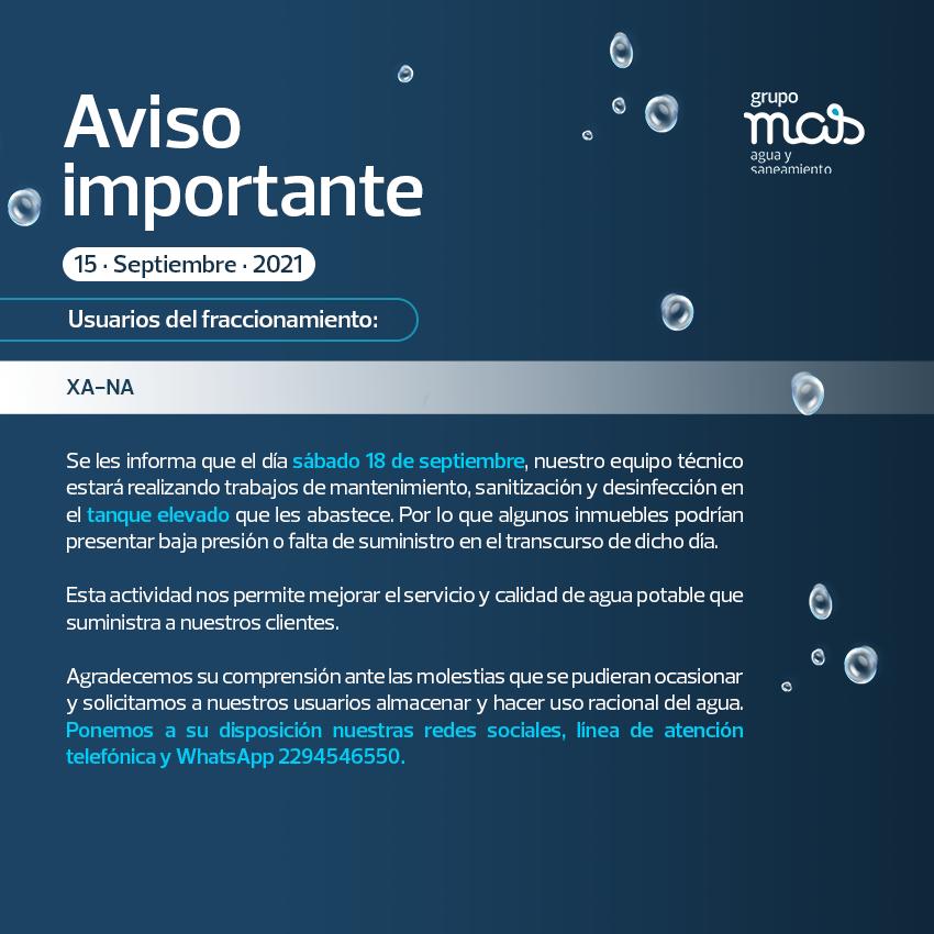 Comunicado Falta de agua en el fracc. XA-NA 15/09/2021