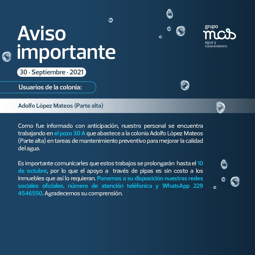 Comunicado Trabajos de mantenimiento en el pozo 1A 30/09/2021