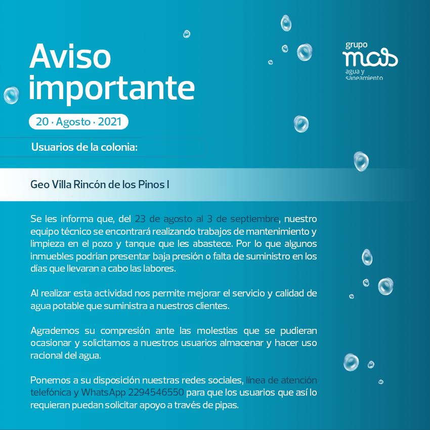 Comunicado Falta de agua en la colonia Geo Villa Rincón de los Pino I. 20/08/2021