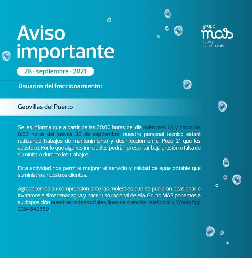 Comunicado Falta de agua en el fracc. Geovillas del Puerto 28/09/2021