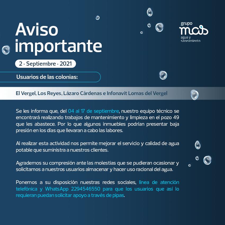Comunicado Falta de agua en las colonias que abastece el Pozo 49. 02/09/2021