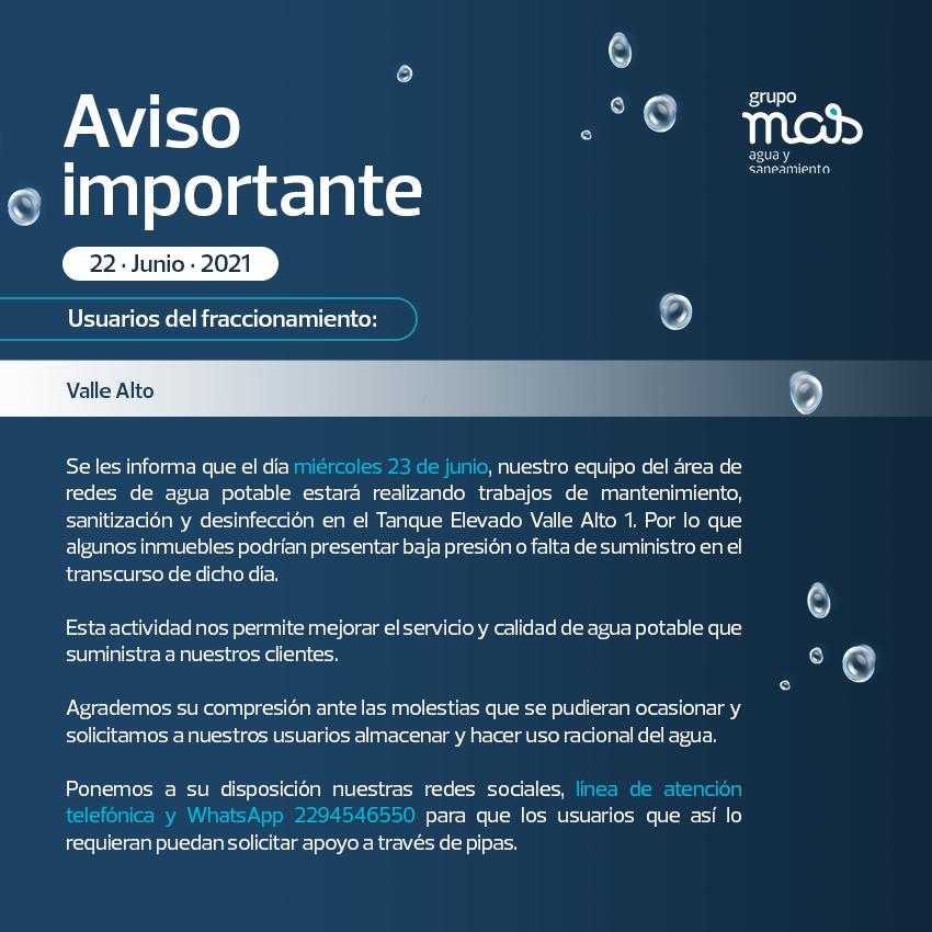 Comunicado Falta de agua en el fraccionamiento Valle Alto. 22/06/2021
